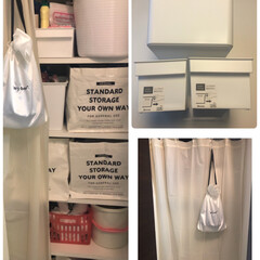 シャワーカーテン/生活の知恵/収納/洗濯/掃除/インテリア/... 我が家のプチプラ納戸収納☺️  ホワイト…