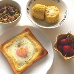 さくらんぼ🍒/ごぼうと豆などのサラダ/とうもろこし🌽/エッグトースト/令和元年フォト投稿キャンペーン/令和の一枚/... |ョ'ω'〃)おはようございます♪ こち…