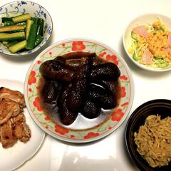 えのきバター醤油/ハムコーンサラダ🥗/やみつききゅうり🥒/ナスの焼き煮浸し🍆/チキングリル/LIMIAファンクラブ/... こんばんは😄 夕ご飯 チキングリル ナス…