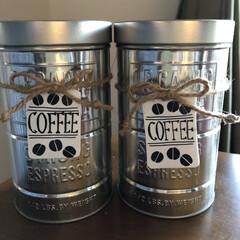 プラバン/コーヒー缶/カフェ風インテリア/カフェコーナー/セリア/100均/... コーヒー豆は光が大敵と言う Seriaに…