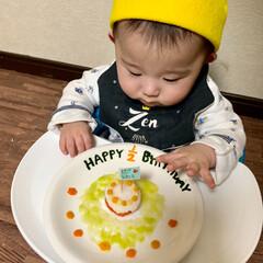 離乳食初期/離乳食/ハーフバースデーケーキ/ハーフバースデー/赤ちゃん/フォロー大歓迎/... 昨日で生後6ヶ月になり ハーフバースデー…(2枚目)