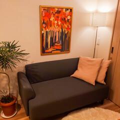 インテリア/ソファ/IKEA/観葉植物のある暮らし/観葉植物/フランフラン/... 別アングルから見たリビング。 ソファ、ク…(1枚目)