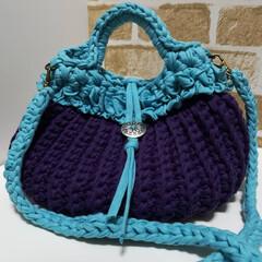 オーダー/リサイクルヤーン/手編みバッグ/手編み/ハンドメイド/バッグ/... コットン糸とリサイクルヤーンのバッグが完…