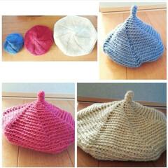 帽子/親子/編み物/手編み/ニット帽/雑貨/... ママ、キッズ、ベビーサイズのとんがりニッ…
