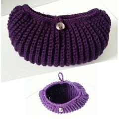 編み物/手編み/ニット/バッグ/雑貨/ファッション/... コロンとした形が可愛いニットバッグ(クラ…