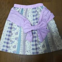 手作り子ども服/リボン/スカート/娘/ファッション/ハンドメイド 娘のリボン付きスカートを作りました🎵