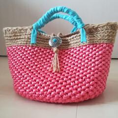 ハンドメイドバッグ/バッグ/ハンドメイド作家/手編み/編み物/雑貨/... すずらんテープと麻紐のバッグを作りました😊