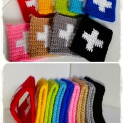 編み物/手編み/北欧雑貨/キッチン雑貨/キッチン小物/クロス柄/... クロス柄のアクリルたわしです🎵