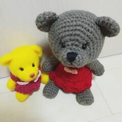 編み物/手編み/くまちゃん/テディベア/ぬいぐるみ/あみぐるみ/... 以前作ったものより少し大きめのくまちゃん…