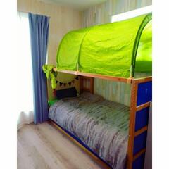 ガーランド/子供部屋/枕カバー/ニトリ/木目調クロス/ベッドカバー/... 長男のお部屋です。