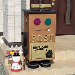 雪だるま/ソーラーライト/ポストDIY/ポスト/郵便受け/郵便ポスト/... コンパネで作った郵便ポスト📮 顔などは、…