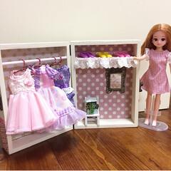 クローゼット/リカちゃん/木箱/100均/セリア 3歳の娘にリカちゃんのクローゼットを10…