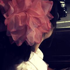 娘/花火大会/ファッション/おでかけ/ピンク 花火大会の後に撮影 娘の頭にも大きな花が…