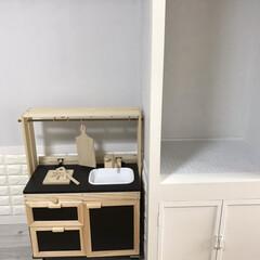 コラボ/カラーボックス/キッチン/DIY