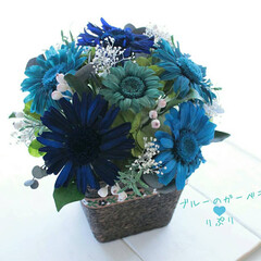 ガーベラ/ブルー/青/インテリア雑貨/花束/フラワーアレンジメント/... 生花だったガーベラをプリザーブドフラワー…
