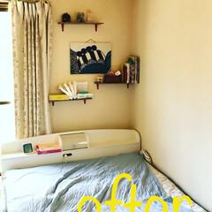 コケ玉/マリメッコ ハギレ/ファブリックボード/壁面収納/夏インテリア/DIY/... 和室の枕元を娘が散らかすので壁面収納を作…(2枚目)