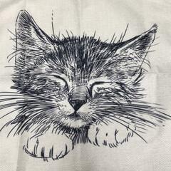 猫派/雑貨/ハンドメイド 猫のクッションカバーでバック作ろうと思っ…
