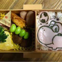 キャラ弁/海苔アート/息子お弁当/お弁当/簡単 息子キャラ弁☺︎ 色つきご飯など食べれな…