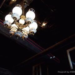 古民家/カフェ/古民家カフェ/リノベーション/アンティーク/照明器具/... 古民家カフェに取り付けたアンティークの照…