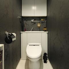 トレイ/スタイリッシュ/モノトーン/おしゃれ/シンプル/白/... トイレはシックなモノトーンでスタイリッシ…