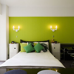 アクセントカラー/緑/スタイリッシュ/おしゃれ/ホテルライク/シンプル 緑のアクセントカラーが美しい壁に向け,ホ…