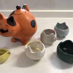 急須/オリジナル/にゃんこ/猫/陶芸/ペット/... 陶芸で作った、どこかしらに、にゃんこな器…