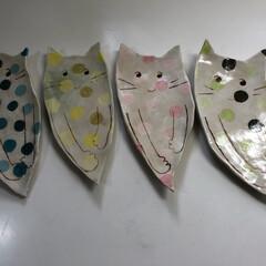オリジナル/にゃんこ/陶芸/猫/キッチン/ハンドメイド 陶芸で作った秋刀魚用のお皿