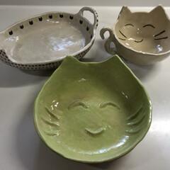 オリジナル/にゃんこ/猫/陶芸 陶芸で作った、どこかしらに、にゃんこな器…