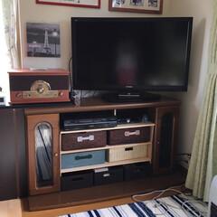 収納/テレビ台再利用 昔のテレビボード、大きなテレビが入らなく…