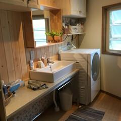 洗面所/インテリア/DIY/イケア/リフォーム 以前あった洗面台を撤去しキッチンの天吊を…