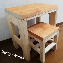 夏インテリア/インテリア/DIY/ディアウォール/雑貨/100均/... 3歳の子どもに机とイスを作りました。  …