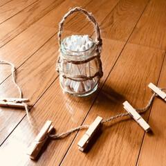 ジャム空き瓶/セリア/インテリア/雑貨/収納/ハンドメイド/... ジャムの空き瓶に麻紐編み込みしてみました。