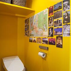 イエロー/黄色/補色 トイレは青の補色のイエローに。