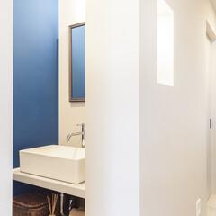 コントラスト/サニタリー/青/ブルー 白と青のコントラストが爽やか。