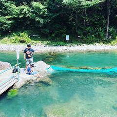大自然/初体験/体験/アウトドア/男子/息子/... はじめてのマス釣りへ。 台風の影響で川の…