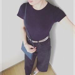 ママコーデ/プチプラ/GU/UNIQLO/夏コーデ/ファッション 【シンプル ネイビー×ブラックコーデ】 …