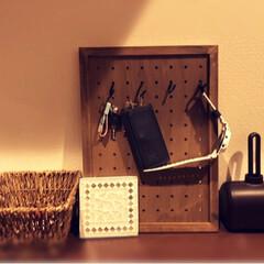 DIY/鍵収納/ズボラ/セリア/有孔ボード 鍵をかけることにしよう! とセリアのパン…