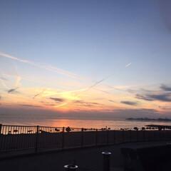 海岸/夕焼け/飛行機曇 飛行機曇ラッシュでした(3枚目)
