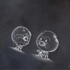 黒板アート/バイキンマン/アンパンマン/アニメ/らくがき 台風で沢山の被害報告をニュースで見た時に…