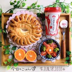 フォロー大歓迎/マーコット/朝はパン/フジパン3種のベリー&チーズリング/morinagaミルクたっぷり い.../ウッドトレイ/...         6/18(木) 朝食  …