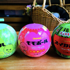シャーベット/スイカボール/モモボール/メロンボール/井村屋/フォロー大歓迎/...  可愛いシャーベット3種類🍈🍑🍉 どれ食…