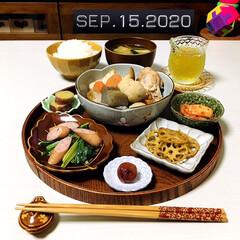 味梅/小松菜ウィンナー炒め/蓮根きんぴら/煮物/フォロー大歓迎/キッチン雑貨/...        9/15(火) 夕食  ご…