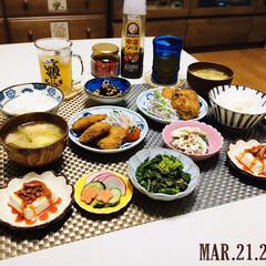 フォロー大歓迎/KOMERI/ランチョンマット/食べるラー油と柿の種/丸七食品/至福の時間/...        3/21(土) 夕食  ご…