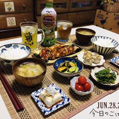 おうち時間/至福の時間/夕食/ランチョンマット/ダイソー/スタミナ飯/...        2020.6.28(日) …
