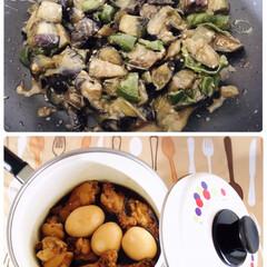 フォロー大歓迎/リミとも部/夕食/暮らし/手羽元ゆで卵ぽん酢煮込み/茄子とピーマンの味噌炒め/...  🙎🏻♂️実家から📦クール便で野菜🍅🍆…