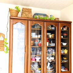 フォロー大歓迎/食器棚/簡単DIY/窓用 目隠しシート(レース柄)/シルク/100均/... 100円SHOPシルクで買った簡単DIY…