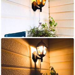 玄関前照明/住まい/暮らし/フォロー大歓迎/我が家の照明  🏡玄関前の照明オレンジ色の優しい灯がお…