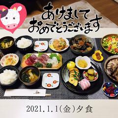 フォロー大歓迎/お刺身/おせち料理/ランチョンマット/キッチン雑貨/100均/...    2021.1.1(金) 夕食 *ご…