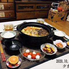 ランチョンマット/味噌ちゃんこ鍋/フォロー大歓迎/由良みかん/キムチ/さつまいも甘煮/...        10/19(月) 夕食  …