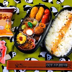 ◆オリヒロ ぷるんと蒟蒻ゼリーパウチ ピーチ 20g×6個(ダイエットお菓子)を使ったクチコミ「    10/17(木) 主人弁当🍱  …」